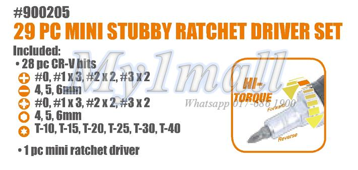 TACTIX 900205 MINI STUBBY RATCHET DRIVER 29PC
