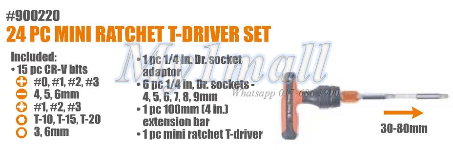 TACTIX 900220 RATCHET T-DRIVER SET MINI 24PC METRIC
