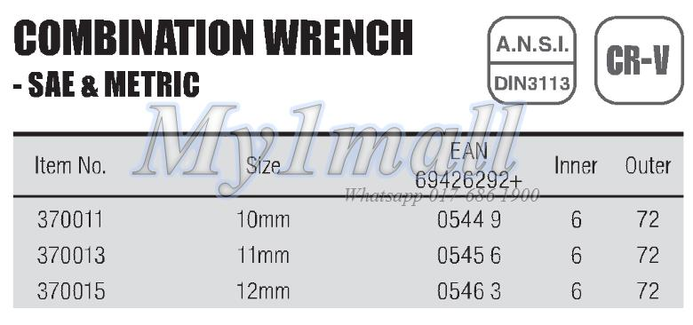 TACTIX WRENCH COMBINATION 10mm,11mm,12mm-SET B
