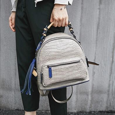 Tassel crocodile pattern spell color backpack shoulder color bag