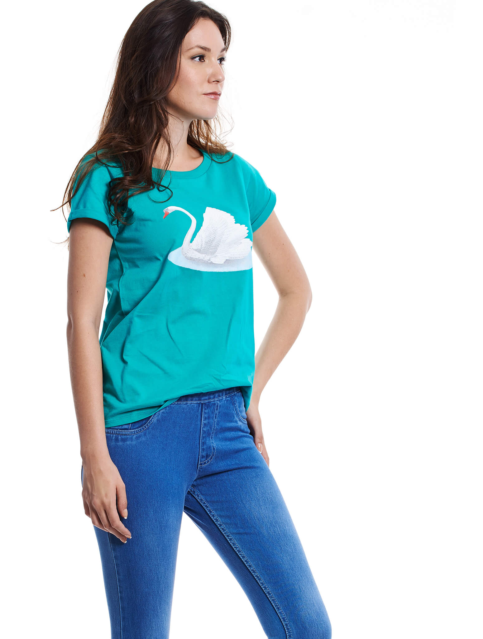 teal short sleeve swan tee