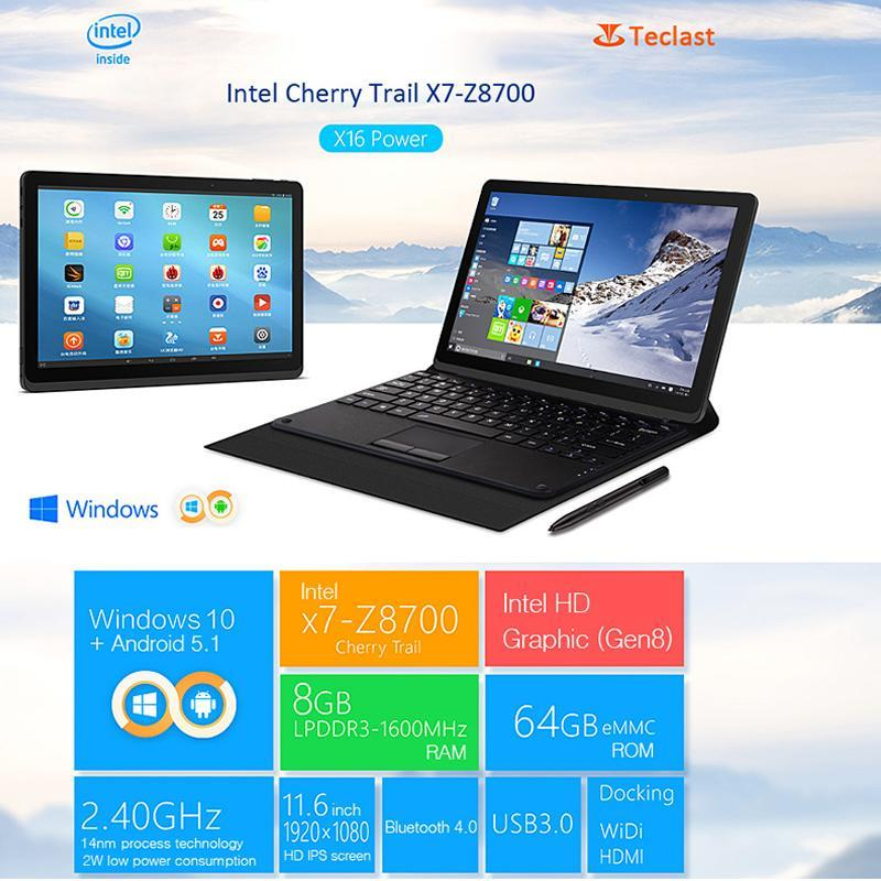 Teclast x16 Power Dual Os 11.6'FHD 8Gb 64GB Gen8 64Bit Win10+Android5