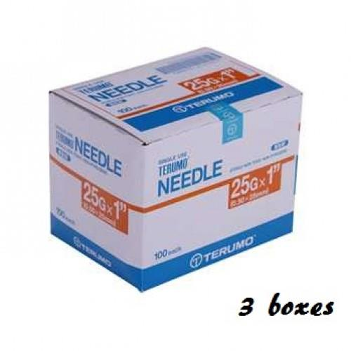 TERUMO DISPOSABLE NEEDLE - 25G X 1' 100PCS X 3 box