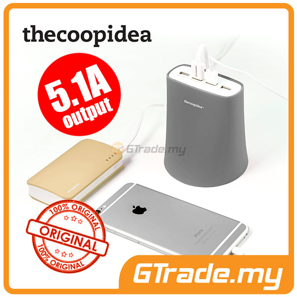 THECOOPIDEA 5.1A 4USB Charger Station GY Apple iPhone 6S 6 Plus 5S 5