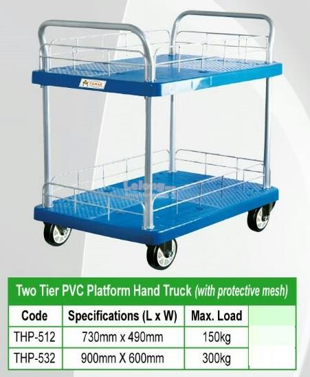 THP-512 Two Tier PVC Platform Hand Truck 730x490mm 150kgs