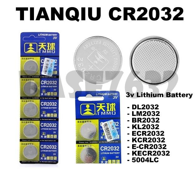 TIANQIU CR2032  3V Lithium Button Cell Battery DL2032 ECR2032 LM2032