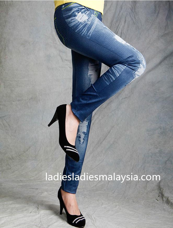 tight fit fashion style dark blue jeans pattern leggings