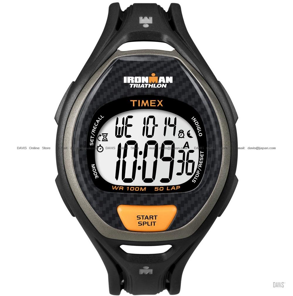 TIMEX T5K335 (M) IRONMAN Triathlon Tap Sleek 50-Lap resin black orange