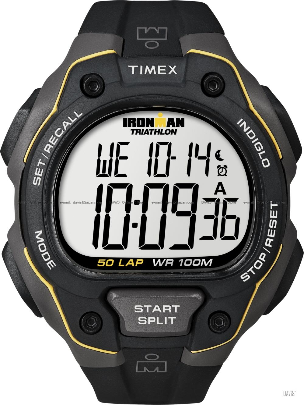 TIMEX T5K494 (M) IRONMAN Triathlon 50-Lap resin strap black yellow