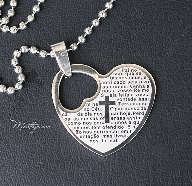 Titanium steel heart pendant with cross sign necklace