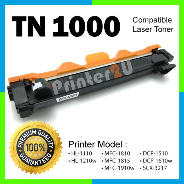 TN1000/TN 1000 Compatible Brother MFC 1815 1910W MFC1815 MFC1910W BK