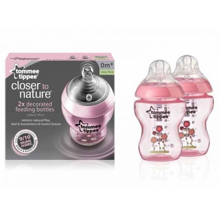 Tommee Tippee Closer to Nature 9oz / 260ml X 2 PP Tinted Bottles (Pink