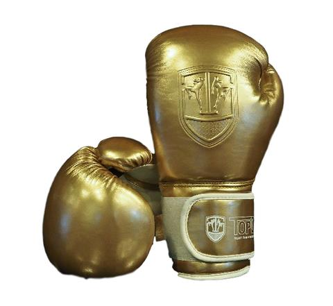 TOPDOG GLOSSY GOLD MUAY THAI GLOVES - 12OZ