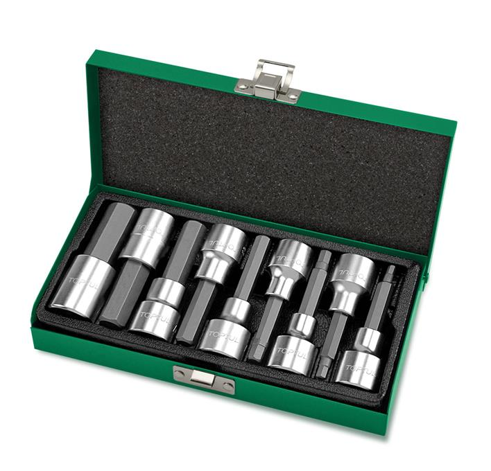 TOPTUL GAAD0905 9PCS 1/2' DR. Long Hex Bit Socket Set