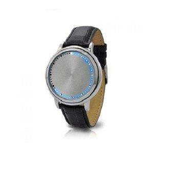 Touch Screen Led Unisex Leather Watch silver