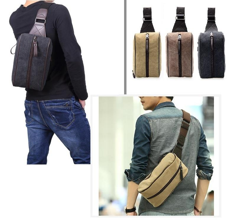 Toupons Fashion Canvas Crossbody Sling Chest Bag Shoulder Bag Men Bag