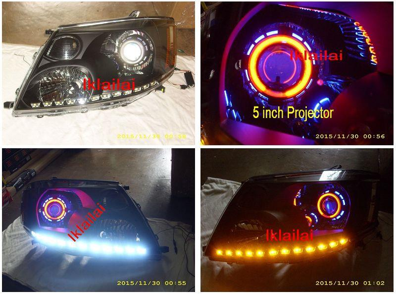 "Toyota Alphard '02 CCFL 5"" Projector Head Lamp 2-Function LED DRL R8"