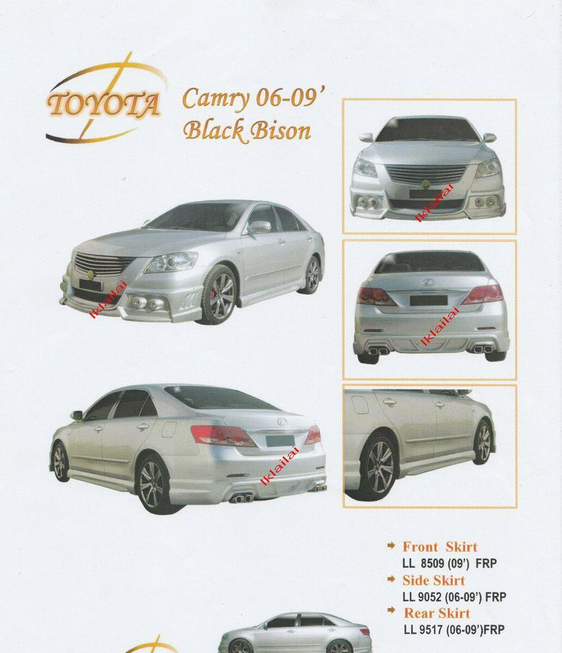 Toyota Camry '06/'09 Black Bison Style Full Set Skirting Body Kit