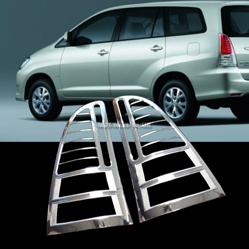 Toyota Innova Chrome Tail Light Trim Lamp Rim Cover Overlays Rings