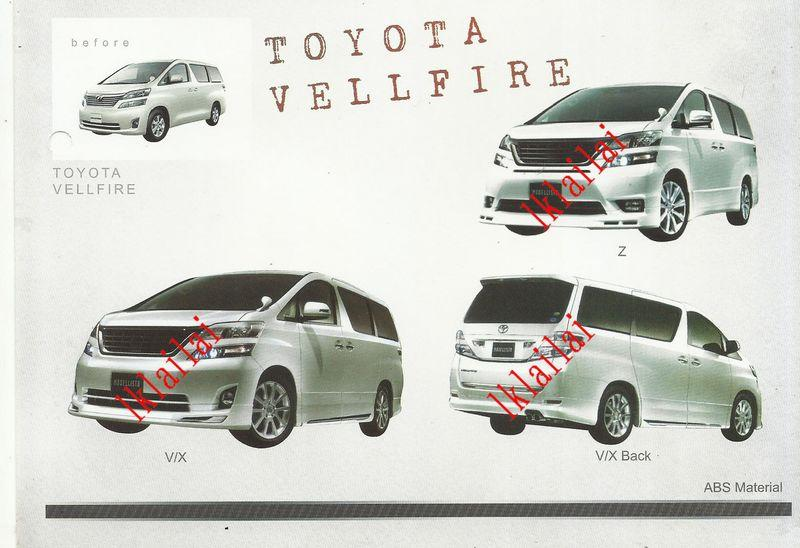 Toyota Vellfire '10-'13 V/X Modellista Full Set Body Kit ABS w Chrome