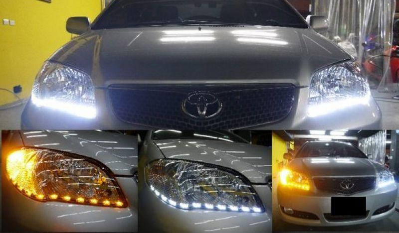 Toyota Vios `06 Crystal Head Lamp Black 2-Function DRL R8