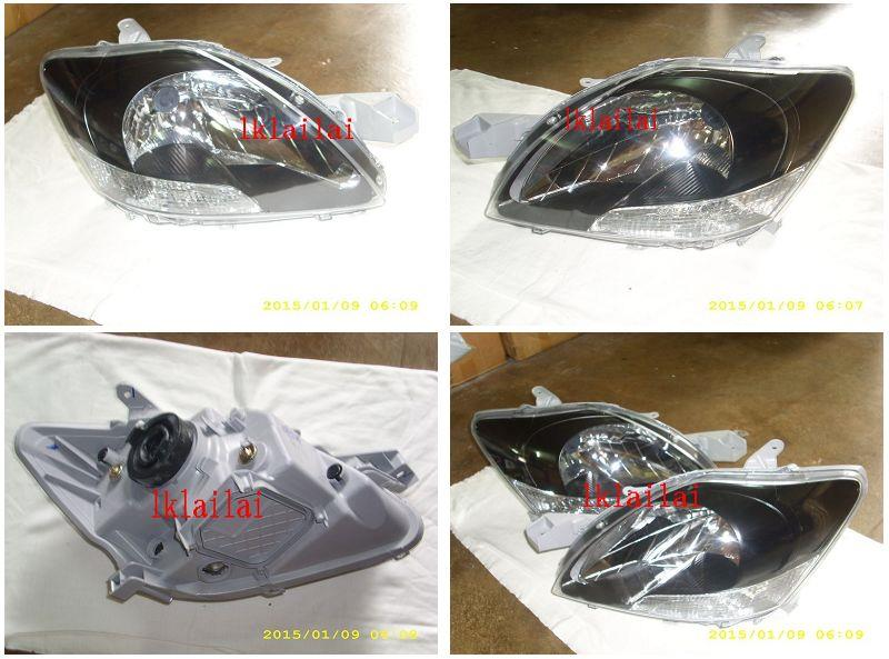 Toyota Vios 07 Crystal Head Lamp Black Housing 1-pair