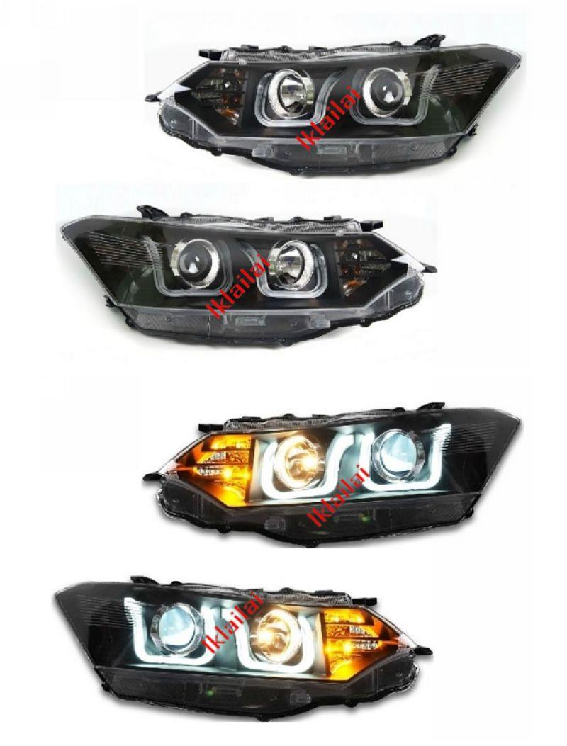 TOYOTA VIOS '13-14 U-Style LED DRL Projector Head Lamp [With Vacuum]
