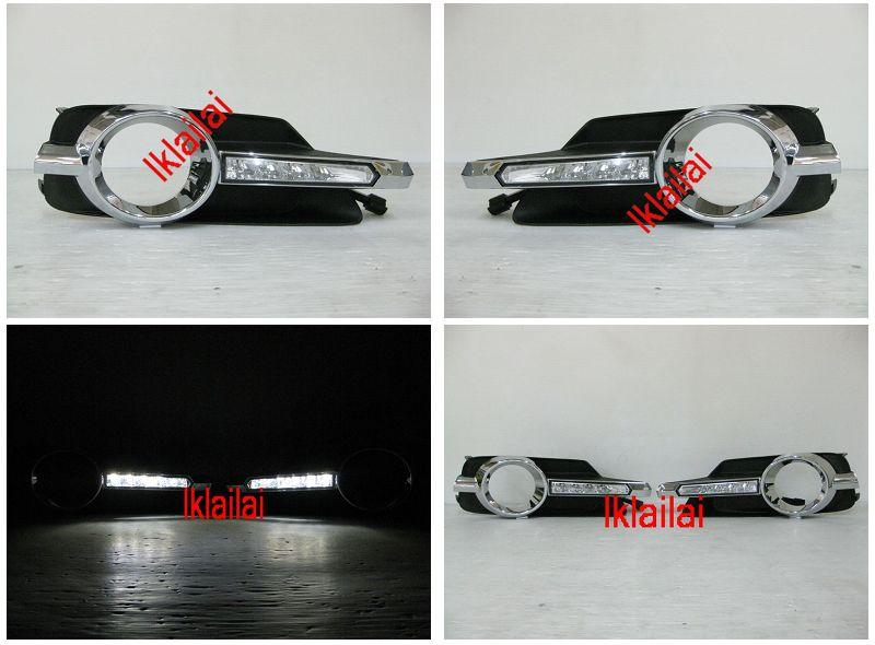 Toyota Wish '13 DRL LED Fog Lamp Cover With Wiring [Chrome]