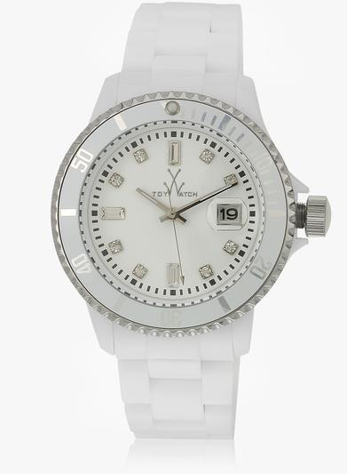 ToyWatch White Plasteramic Date Bracelet Lightweight Watch