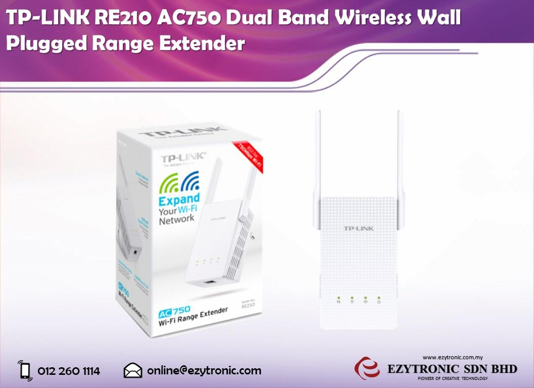 TP-LINK RE210 AC750 Dual Band Wireless Wall Plugged Range Extender