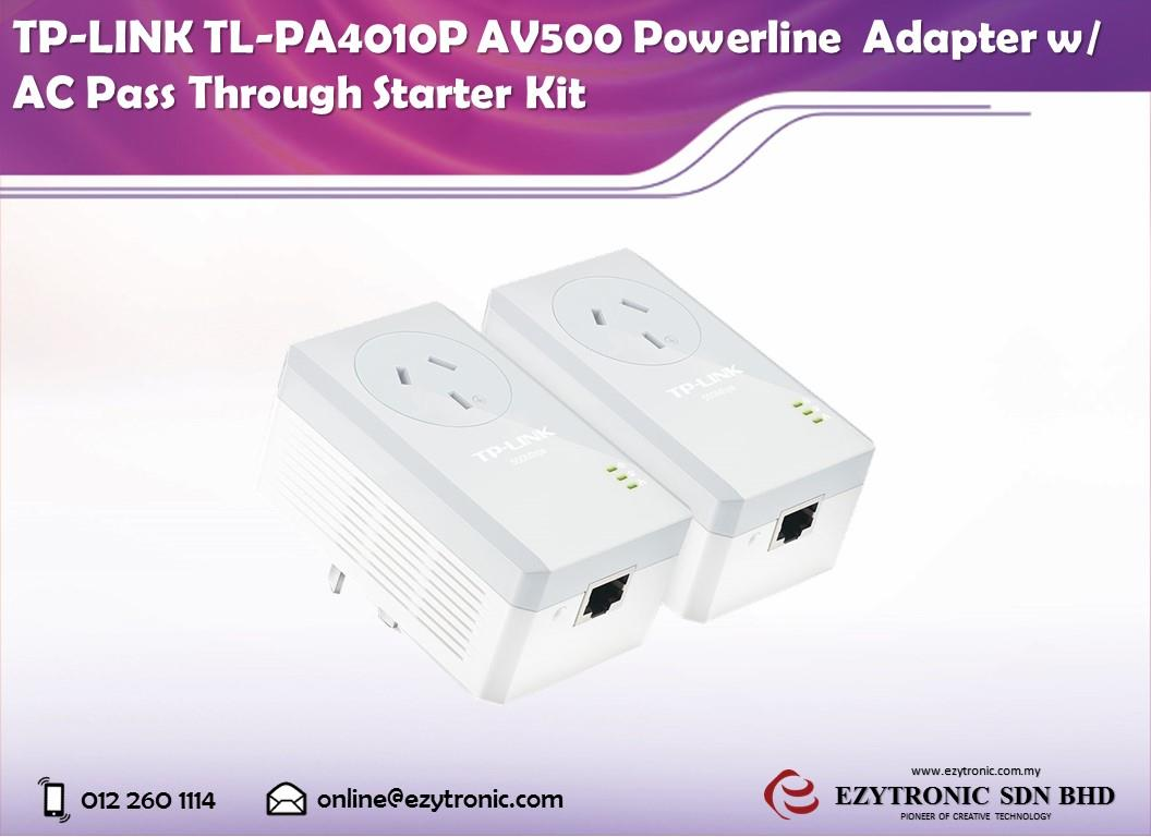 TP-LINK TL-PA4010P AV500 Powerline Adapter w/ AC Pass Through Kit