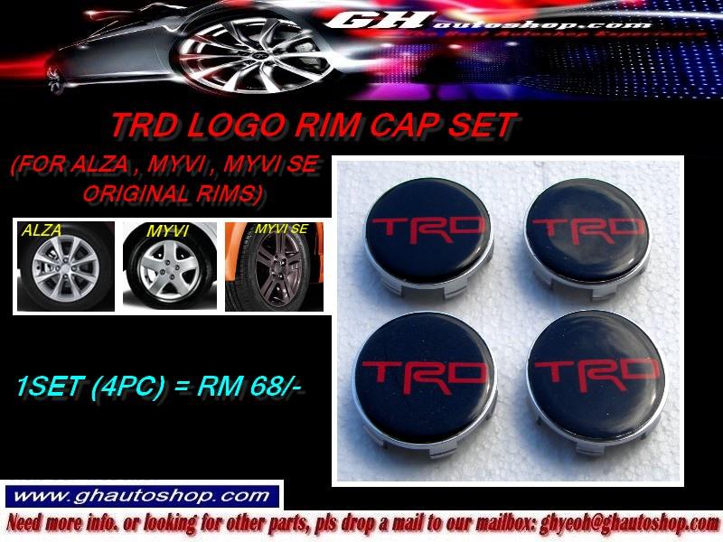 TRD LOGO RIM CAPS SET FOR MYVI / ALZA ORIGINAL SPORT RIM (4PCS)