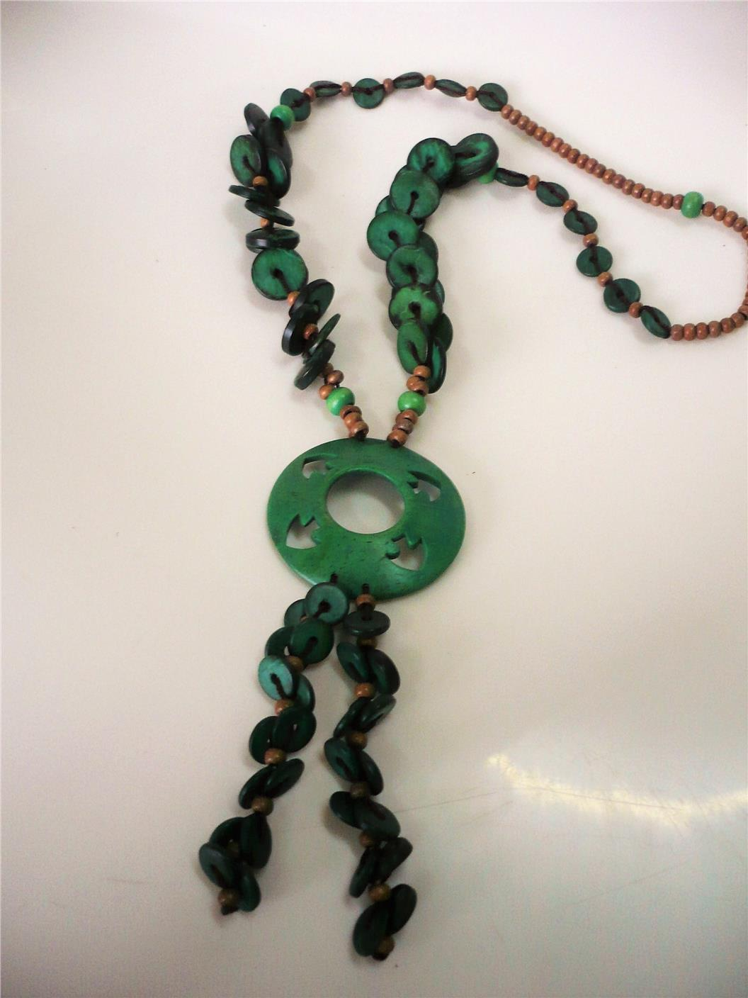 Tribal inspired green coins wooden necklace