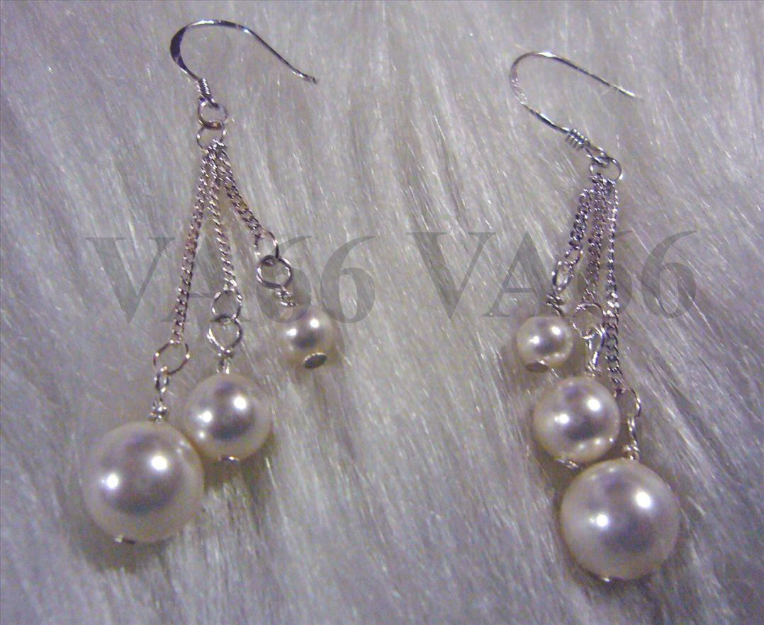 Triple Pearl Earrings 925 Sterling Silver Swarovski Pearls Ivory White