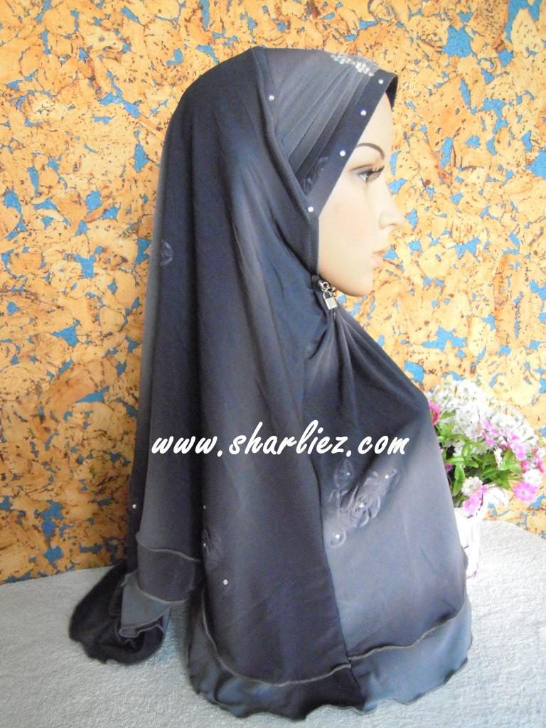 Tudung & Shawl with beads/diamond mixed colour tone