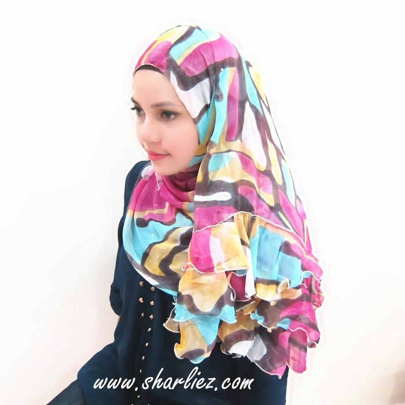 Tudung & Shawl casual multi colour flower print circle dots