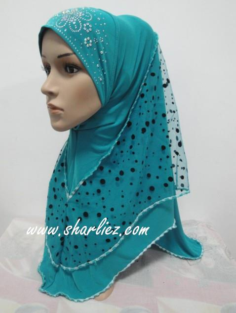 Tudung & Shawl circle polka dots diamond beads 2
