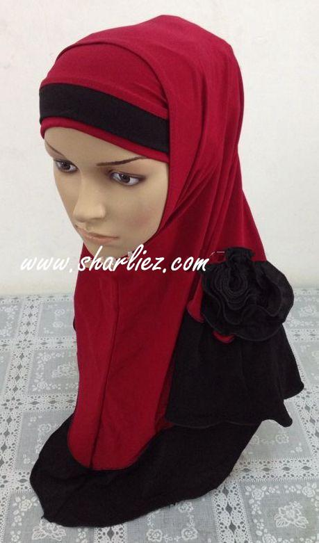 Tudung & Shawl double colour double tone rose flower