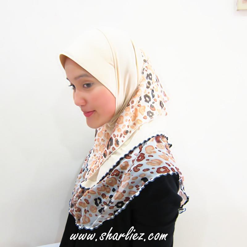 Tudung & Shawl double layer double colour tone leopard print 2