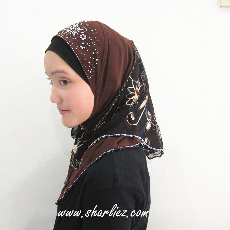 Tudung & Shawl embroidered flower diamond beads 2