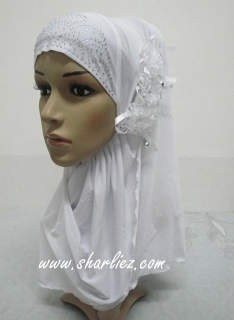 Tudung & Shawl flower pearl diamond beads 2