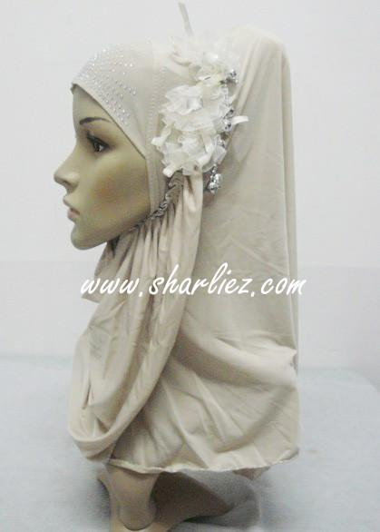 Tudung & Shawl flower pearl diamond beads 3