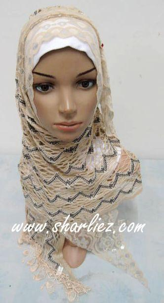 Tudung & Shawl zigzag net embroidered