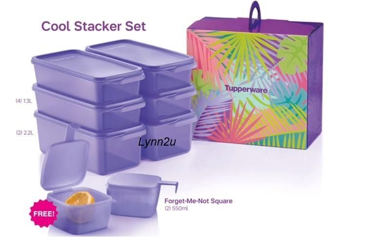 Tupperware Cool Stacker Set Free Forget-Me-Not-Square (2) 550ml