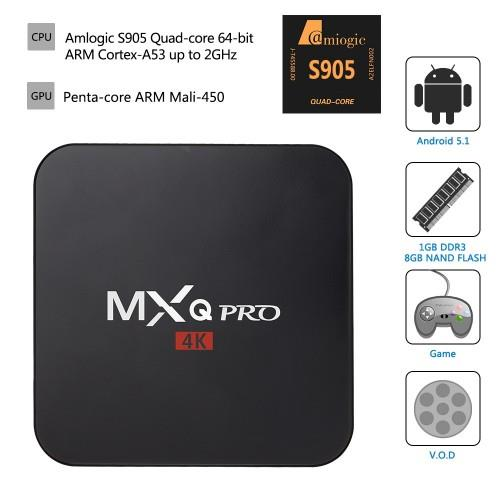 TV Box 4K Android 5.1 MXQ PRO S905 Malay Drama Movie ready