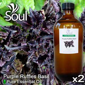 Twin Pack Pure Essential Oil Basil - Purple Ruffles Basil - 500ml
