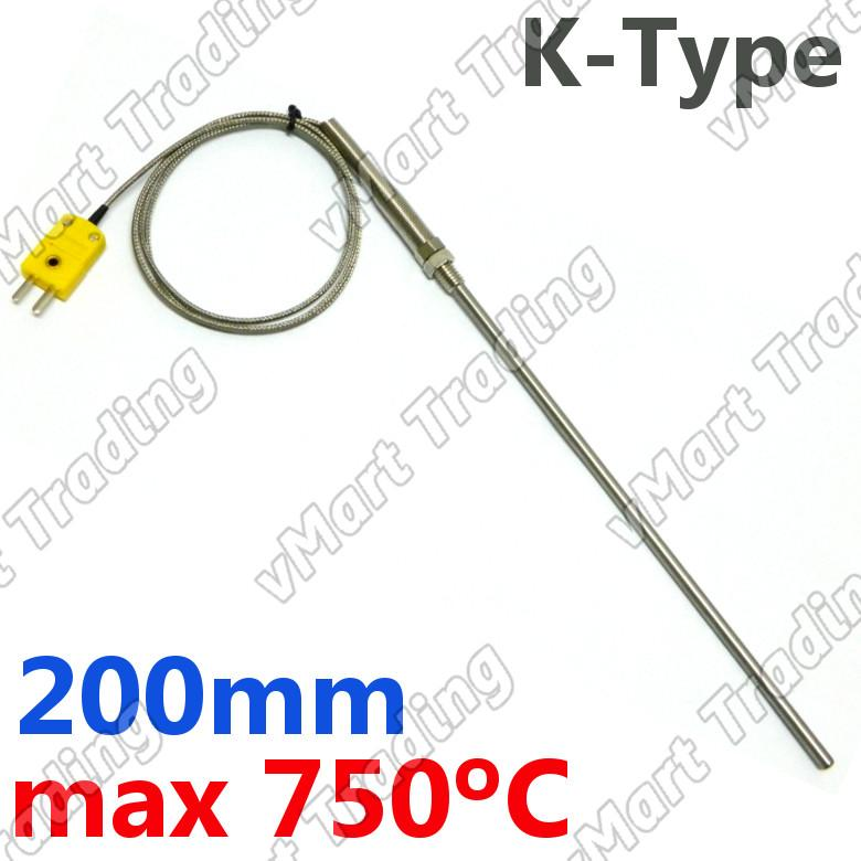 Type-K Thermocouple with 200mm Stainless Steel Probe