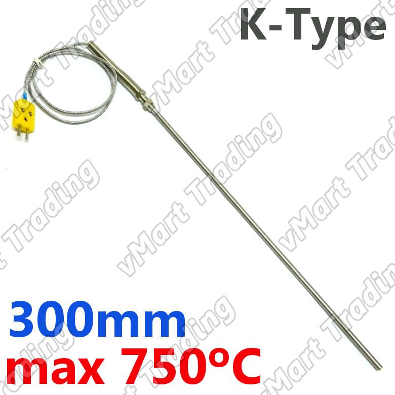 Type-K Thermocouple with 300mm Stainless Steel Probe