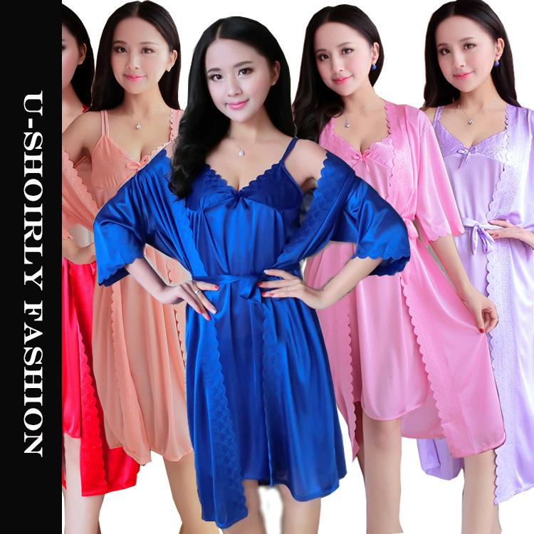 U-SHOIRLY Ice Silk Robe Sleepwear Nightgown Lingerie 2pcs set