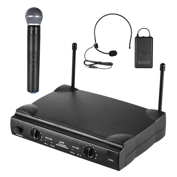UHF Dual Channels Wireless Microphone Mic System with Transmitter